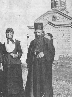 Bishop Nikolai with his mother Katarina in front of his hometown church, Lelich, 1932.