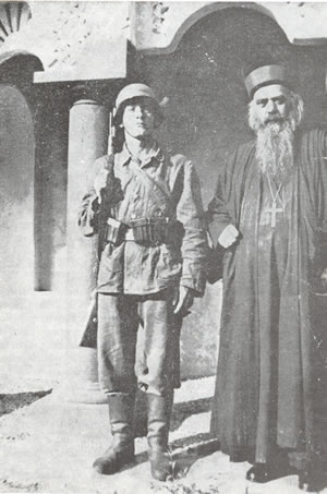 Bishop Nikolai arrested by the Germans, Zhicha Monastery, 1941.